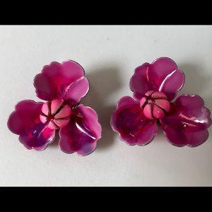 Jewelry - Vintage 60s Flower Clip Back Earrings Dark Pink